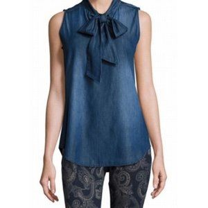 Nanette Lepore Metallic Denim Neck Tie Top